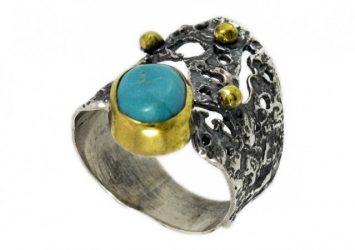 Сребърен пръстен Тюркоаз и позлата ipR1-1