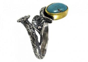 Сребърен пръстен Тюркоаз и позлата ipR1-2