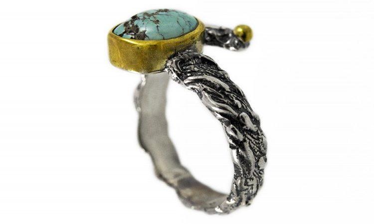 Сребърен пръстен Тюркоаз и позлата ipR1-3