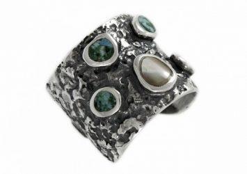 Сребърен пръстен седеф и тюркоаз R113