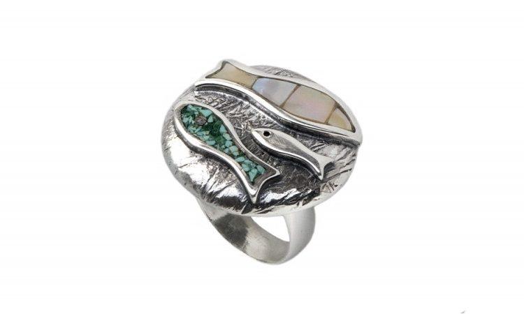 Сребърен пръстен Риби R121
