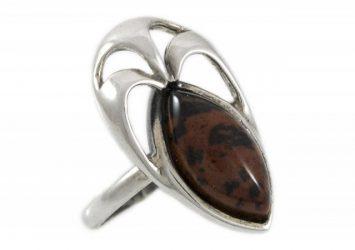 Сребърен пръстен Обсидиан R129K