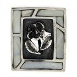 Сребърен пръстен седеф с роза R85