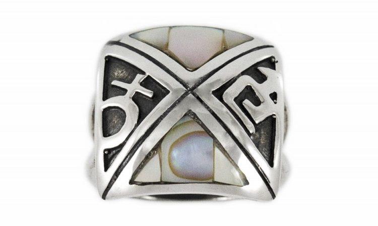 Сребърен пръстен седеф R96