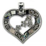 """Сребърна висулка """"Сърце със седеф"""" M33"""