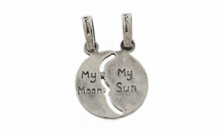 Сребърна висулка Слънце/Луна cM576a