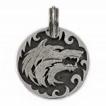 Сребърен медальон вълк M108