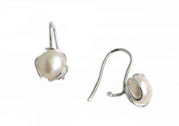 Сребърни обеци Перла 1017E