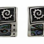 Сребърни обеци с цветен и бял седеф E56