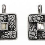 Сребърни обеци с цветен седеф E95st