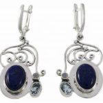 Сребърни обеци с естествени камъни ipES22