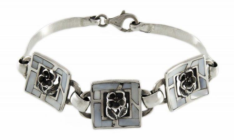 Сребърна гривна седеф с роза B85