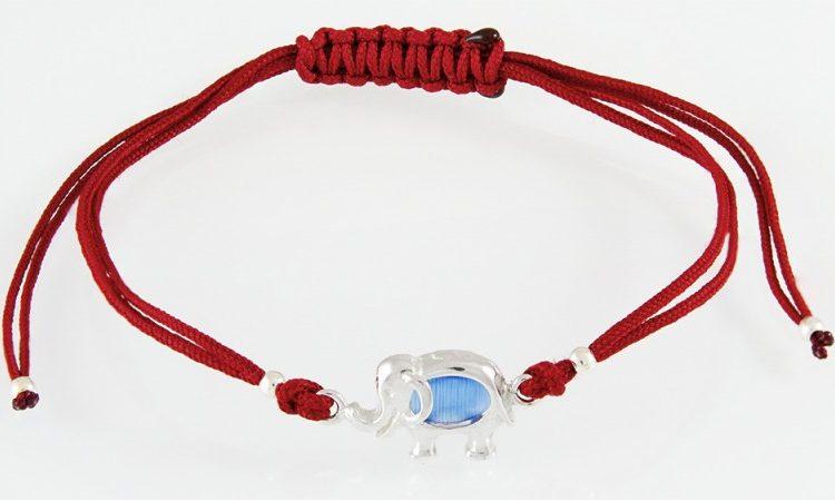 Червен конец слонче със синтетичен камък GR8