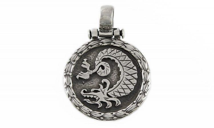 Сребърен медальон - дракон M-Д